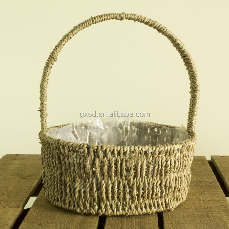 SDB1605465-Al Lined Seagrass Hand Basket Round Easter Planter 02.jpg
