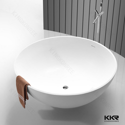Round matte two person freestanding bathtub