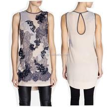 Latest design Keyhole back leather binding shift print pattern chiffon ladies office dresses