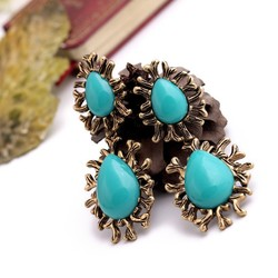 emerald with new alloy earring,good looking blue gemstone earring,antique style elegant earring fashion jewelry