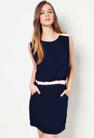 las mujeres sin mangas color contrato de grasa corto vestido de las mujeres