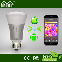 E27 high lumens color changing light bluetooth mobile phone controlled smart bulb