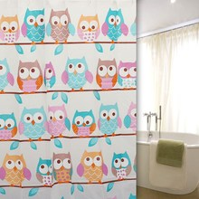 """Cute Owl Shower Curtains PEVA 71x71"""" Bathroom Products Waterproof Polyester Shower Bath Curtain With 12 Hooks"""