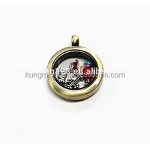 25MM High quality bronze round floating ocket, circle memory origami owl locket necklace wholesale,glass living memory locket