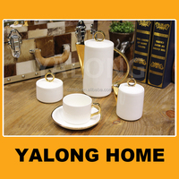 White Porcelain Bone China Tea and Coffee Set with Silver Plated