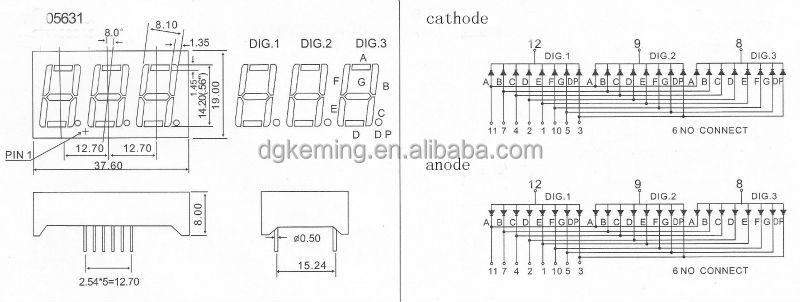 Through hole display 7 segment red 0.56 inch 3 digit numeric led display