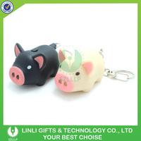 Customized Logo Plastic Pig Led Voice Keyring, Animal Pig Keychain Light, Pig Sound Keyring Light