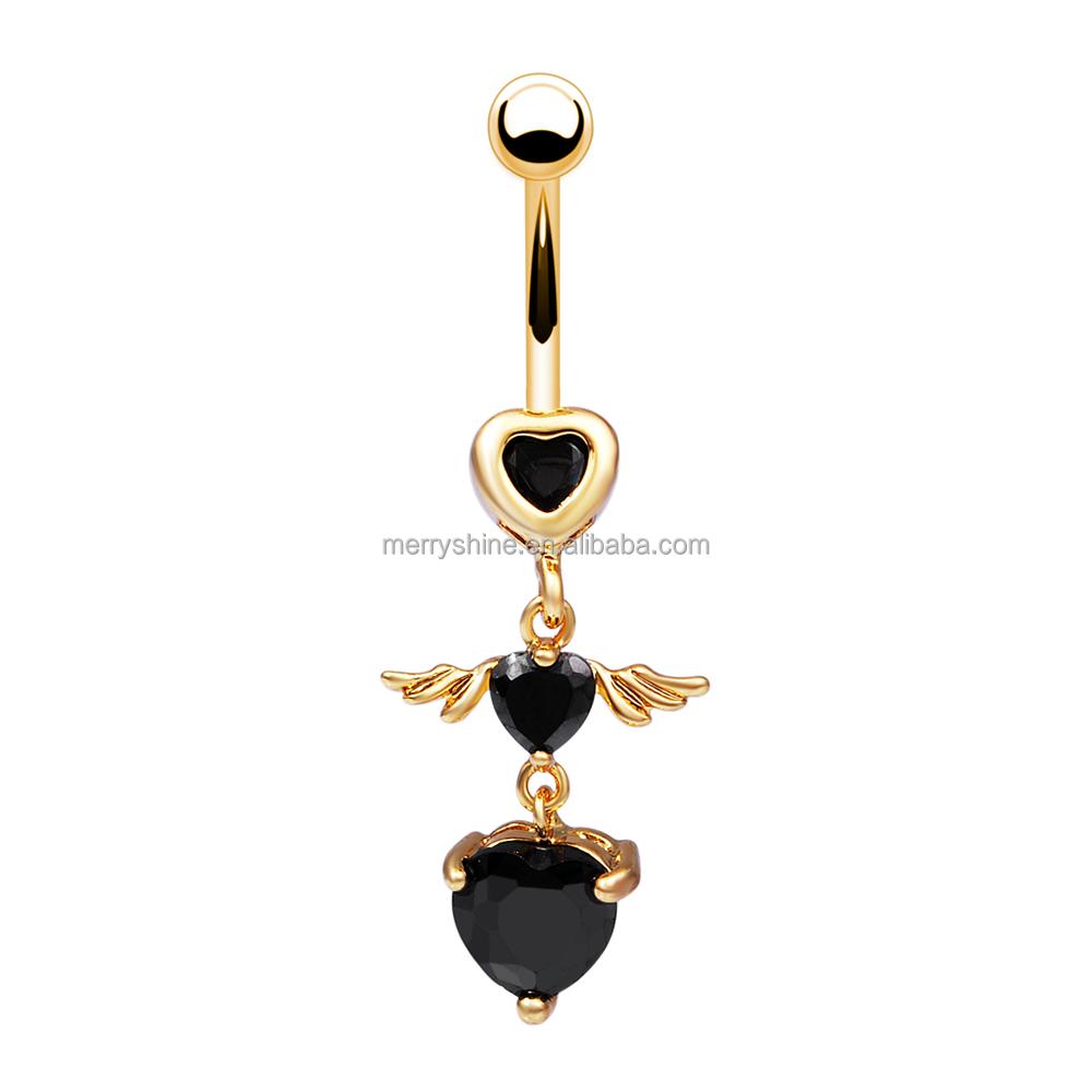 fr665 merryshine en gros noir rose clair strass piercing nombril anneau en or aile d 39 ange sexy. Black Bedroom Furniture Sets. Home Design Ideas