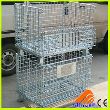 folding steel stackable storage cage foldable pallet box wire cage no pallet