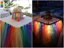 Latest wedding party table skirt, 2015 wedding cake table skirt, a rainbow tulle table skirt