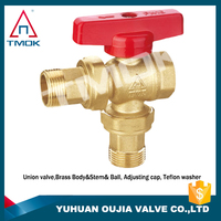 TMOK 3/4'' angle brass ball valve with male union -3/4'' T handle BSP PN25