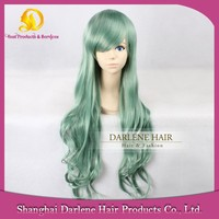 Good Quality YSW12 Women's Long Wavy Heat Resistant Synthetic Hair Baby Green Wigs