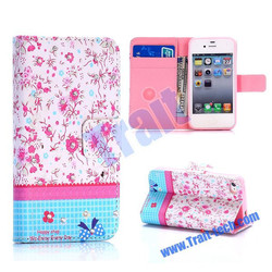 Tender Flower Pattern Diamond Studded Flip Stand Wallet TPU+PU Leather Case for iPhone 4S / 4