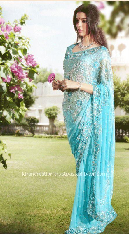 Azul claro diseño sari de novia para