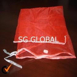 PP leno tubular mesh bag with drawstring