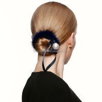 2015 Cute Latest Hot Sale Fancy Decorative Mink Fur Elastic Hair Band with Silk Ribbons and Pearl Ball for Yong Girls