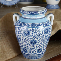 Elegant Chinese Ceramic Blue and White Flower Vase