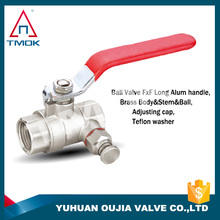 brass ball valve with clock high quality and forged with full port three way NPT threaded connection with polishing plating PPR