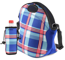 factory price neoprene insulated lunch bag with water bottle holder