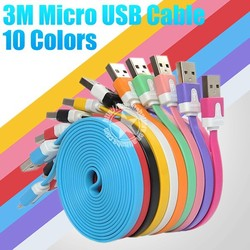 3M Dual Color Micro V8 Pin Noodle Flat Data Cable Made in China