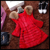 Lady's Fashion Red Color Rabbit And Raccoon Fur Long Style fur coat /import china products