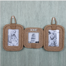 Retro Zakka Wooden Gift Hemp Rope Photo Frame For Home Decor