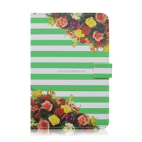Stripes Flower Flip Folio Stand Leather Tablet Cover Case For Apple iPad mini 4