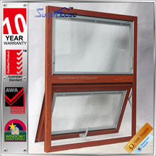 Australia AS2047 standard double glass wood color aluminium doors and aluminium windows in china with blinds inside