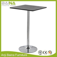 Wooden mini square bar tea cafe table furniture with chrome base design