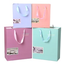 accept custom order classy vintage high end strong printed paper shopping bag with ribbon handles