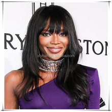 Chinese human hair lace front wigs with bangs for black women