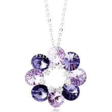 F.Y.L genuine silver jewelry crystal flowers purple gradient bottom three color sweater chain long chain of new Korean female