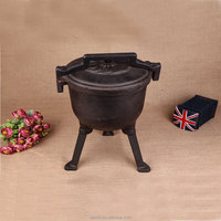 2015 hot sale three legs camping outdoor cast iron pot