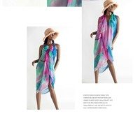 Plus Size 2015 Summer Sexy Chiffon Beachwear Pareos Beach Cover-ups Sheer Sarong Scarf Wrap Dress Swimwear Cover Up scarf