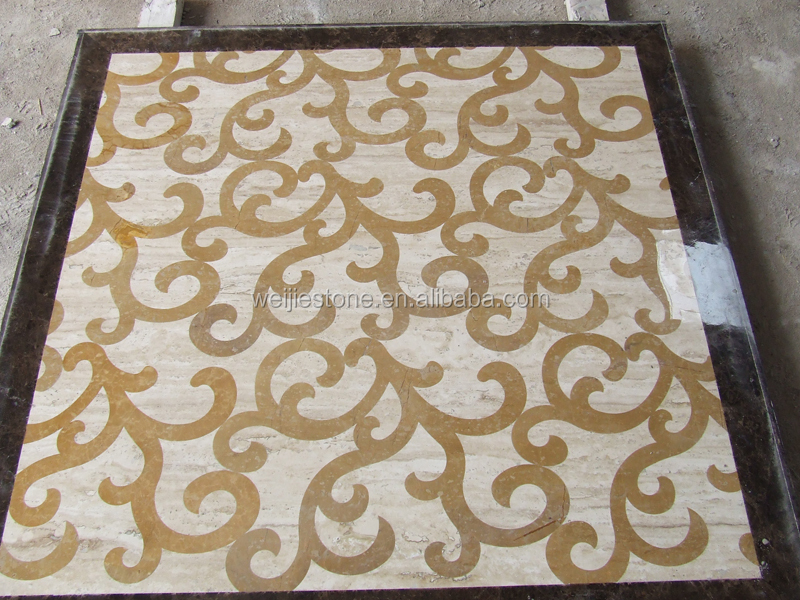 36 Square Home Marble Floor Inlay Work Design Tile Floor