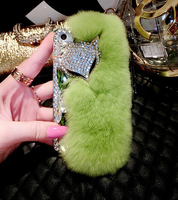 Rhinestone crystal animal head luxuxy plush covers phone case for iphone