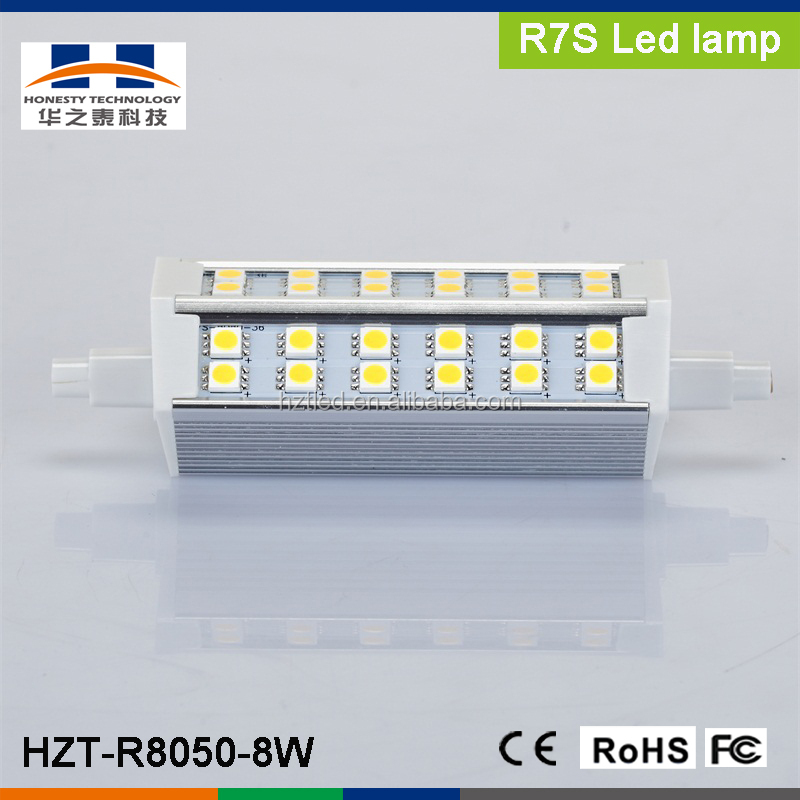 R7S 8W SMD5050 42pcs 640-720LM Warm White LED plug light(AC90-260V)