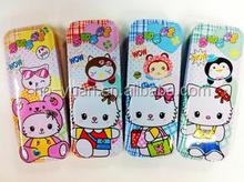 Promotional cute good quality cartoon tinplate pencil/pen case