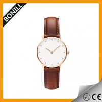 Wholesale couple dial watches hot sale with fashion dial design and leather strap for pair wrist watch
