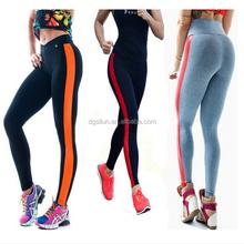 2015 deportes moda llevar la nalga yardas grandes de lado alto de la cintura de cuero para mujer pantalones de yoga pantalones deportivos