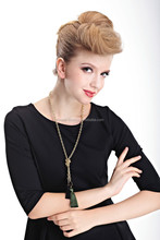 Golden color Alloy chain necklace with flower pendant and tassel fashion and smart