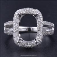 Emerald Cut 7*10.5mm SOLID 14K White Gold 100% Natural Diamond Semi-Mount Ring