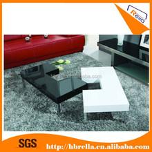 white & black MDF high glossy coffee table