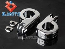 "CNC Footpeg Clamp Chrome Aluminum Custom 1.25"" Foot Peg Clamps For All 1 1/4"" Frame Tube or Engine Guard Chopper Sportster"