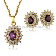 best wholesale price hot sale red crystal charming 24k gold dubai jewelry set accessories for women