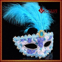 PAR-008 Yiwu Caddy Wholesale party venetian princess high quality feather carnival half face mask