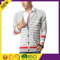 Button v neck long sleeve stripe fashion cool model fancy 2016 men sweater