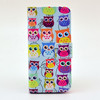 Owl print flip wallet leather case with stand for iphone 5 5s
