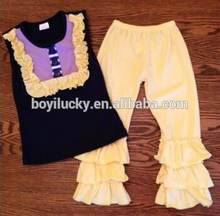 new arrivals baby sets ! halloween girls clothes black sleeveless top yellow lace orange puffy 3 ruffles pant boutique outfits