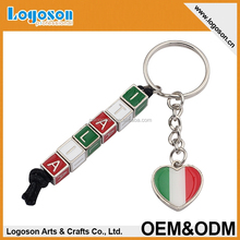 2015 Italia promotional gifts custom souvernirs alphabet letter keychain countries metal keychains